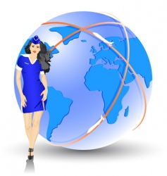 beautiful stewardess at the airport vector image
