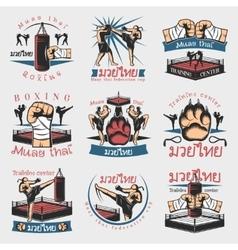 Colorful Kickboxing Emblems Set vector image