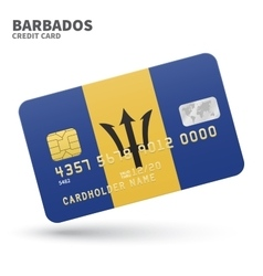 Credit card with barbados flag background for bank vector