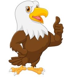 Eagle cartoon giving thumb up vector