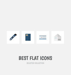 flat icon tool set of date block knife letter vector image