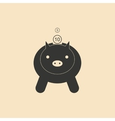 Flat in black white piggy bank and coins vector