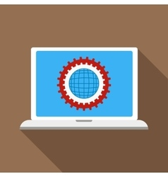 Gears on a laptop monitor icon flat style vector image