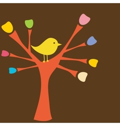 Greeting card with bird on tree branch vector image vector image