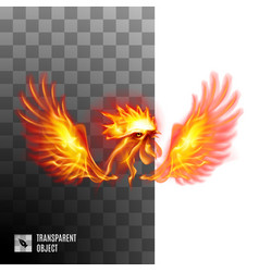 Head fiery golden rooster on transparent vector