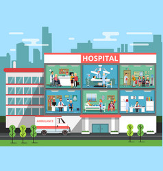 hospital rooms with medical personnels doctors vector image vector image
