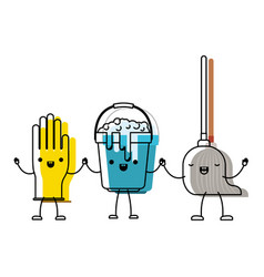 Kawaii cartoon glove and bucket with soapy water vector