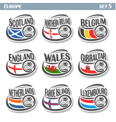 logo for european football ball flag vector image