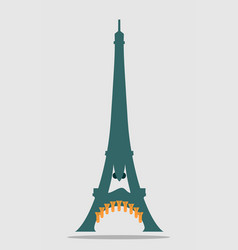 paris eiffel tower with cartoon face vector image vector image