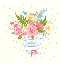 Pretty wedding invitation card with a bouquet vector