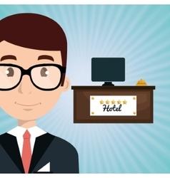 reception hotel employee icon vector image