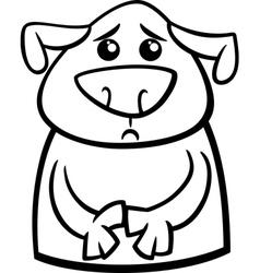 Sad dog cartoon coloring page vector