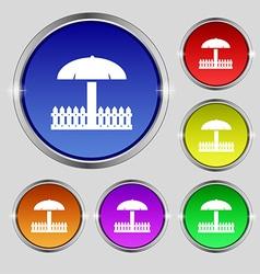Sandbox icon sign round symbol on bright colourful vector