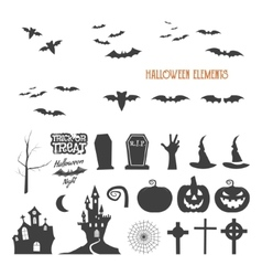 Set of halloween design creation tool kit icons vector