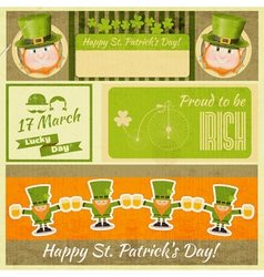 Set of patricks day retro cards vector