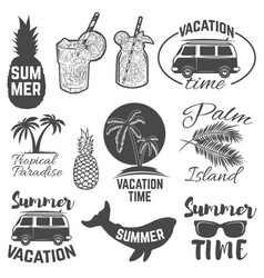set of summertime emblems palm trees sunglasses vector image