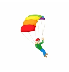 Skydiver with parachute open icon cartoon style vector image