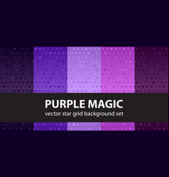 Star pattern set purple magic seamless vector