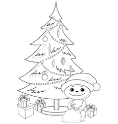 teddy bear under the christmas tree contours vector image vector image