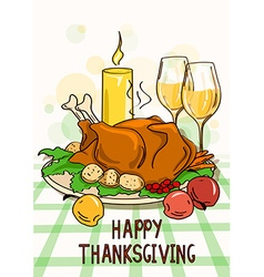 Thanksgiving card with roasted turkey bird vector