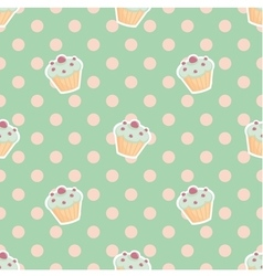 Tile pattern with cupcakes and polka dots on mint vector image vector image