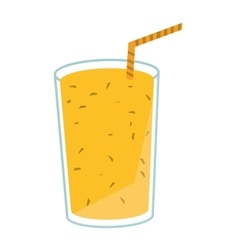 Juice glass drinking straw design vector