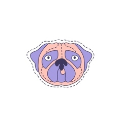 Pug face bright hipster sticker vector