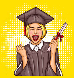 pop art excited girl graduate student in a vector image