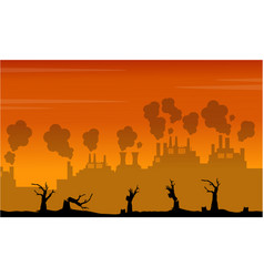 silhouette of industry and forest on fire vector image