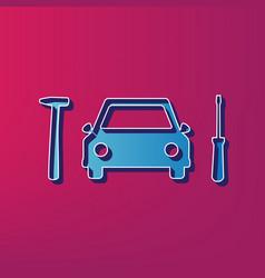 car tire repair service sign  blue 3d vector image