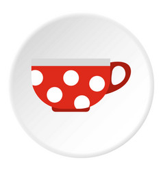 Red mug with white polka dots icon flat style vector