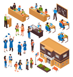 students and teachers isometric set vector image