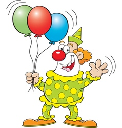 Cartoon clown with balloons vector