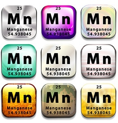 A button showing the element manganese vector