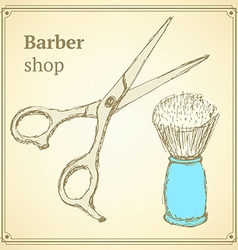 Sketch barber set in vintage style vector