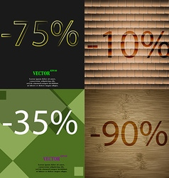 10 35 90 icon set of percent discount on abstract vector