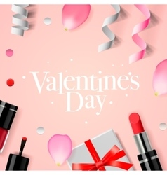 Valentines day background with gift box cosmetics vector