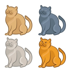 Set of cute cartoon cats vector image