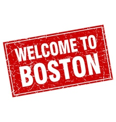 Boston red square grunge welcome to stamp vector