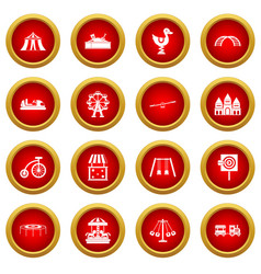 amusement park icon red circle set vector image