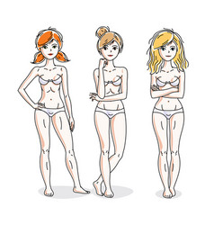 Attractive young women group standing in white vector