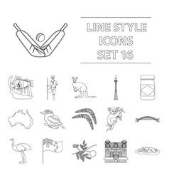 Australia set icons in outline style big vector