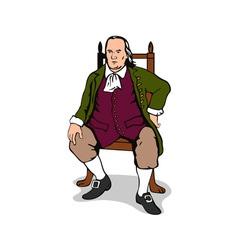 Ben Franklin Sitting Retro vector image