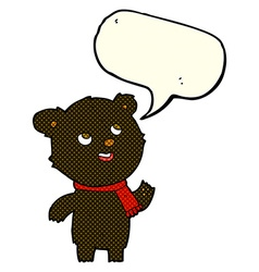 cartoon black bear wearing scarf with speech vector image vector image