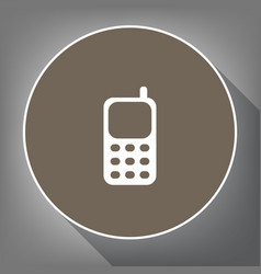 cell phone sign white icon on brown vector image vector image