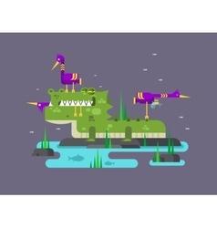 Crocodile character cartoon vector