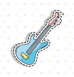 Cute guitar sticker music instruments vector