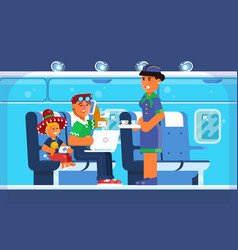 family happy on airplane vacations holiday vector image vector image