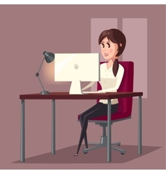 Female or woman at computer in room home vector