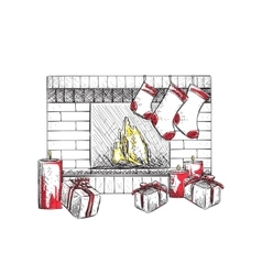 Fireplace with socks vector